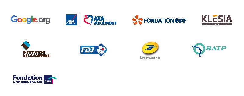 Google.org, AXA Atout Cœur, Fondation EDF, Klésia, Institutions de la Coiffure, La Française des Jeux, La Poste, RATP, Fondation CNP Assurances