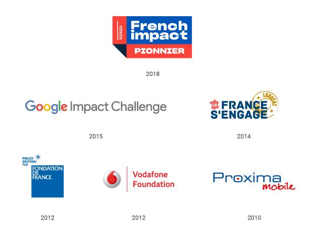 Pionnier French Impact (2018), Google Impact Challenge (2015), La France s'engage (2014), Lauriers de la Fondation de France (2012), Vodafone Accessibility Awards (2012), Proxima Mobile (2010)