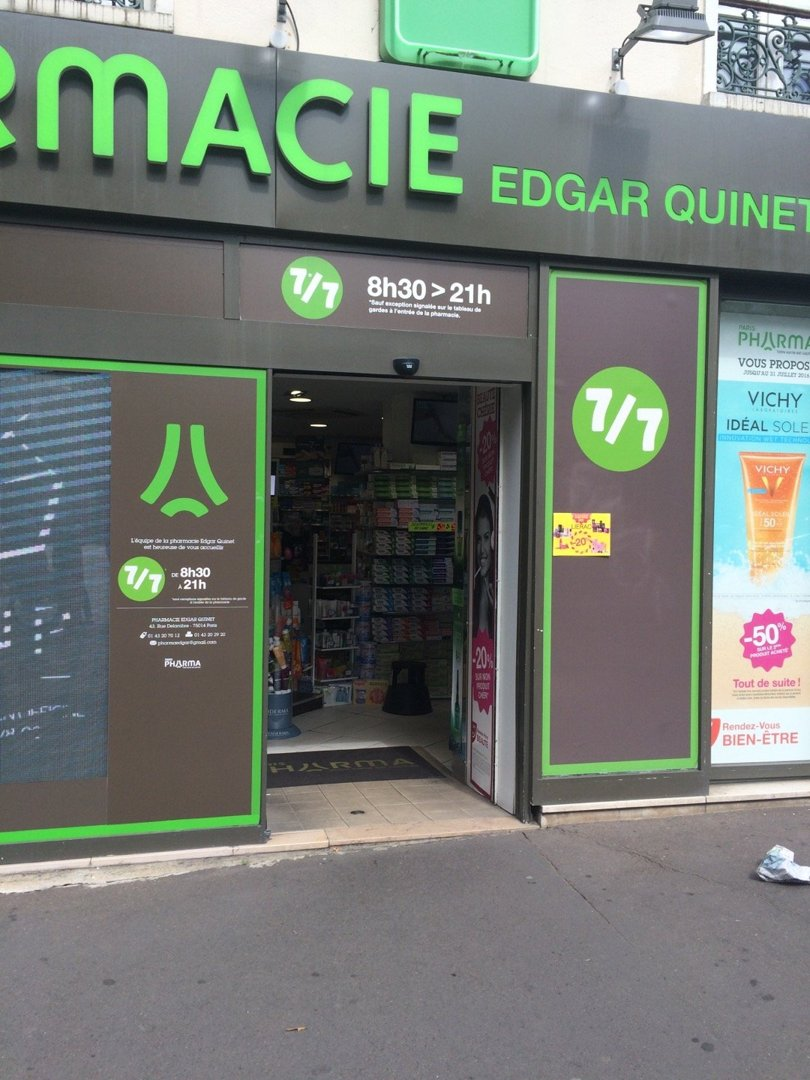 Photo of the June 30, 2016 2:58 PM, Edgar Quinet Pharmacy, 43 Rue Delambre, 75014 Paris, France