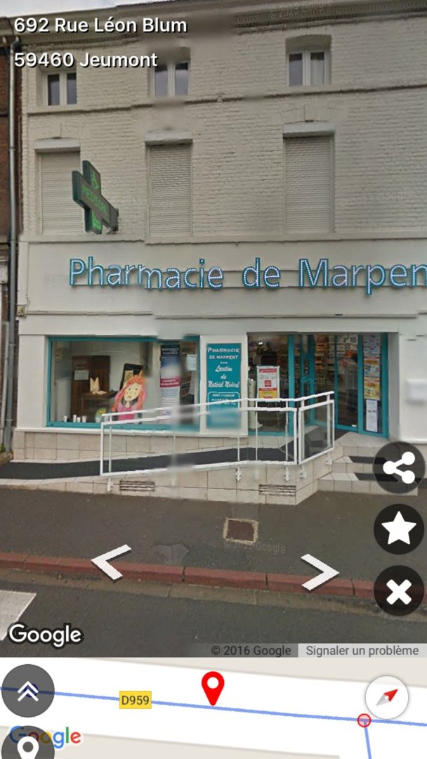 Photo du 5 juillet 2016 19:29, la pharmacie BAUDRY FABIENNE, 113 Rue de la République, 59460 Marpent, France