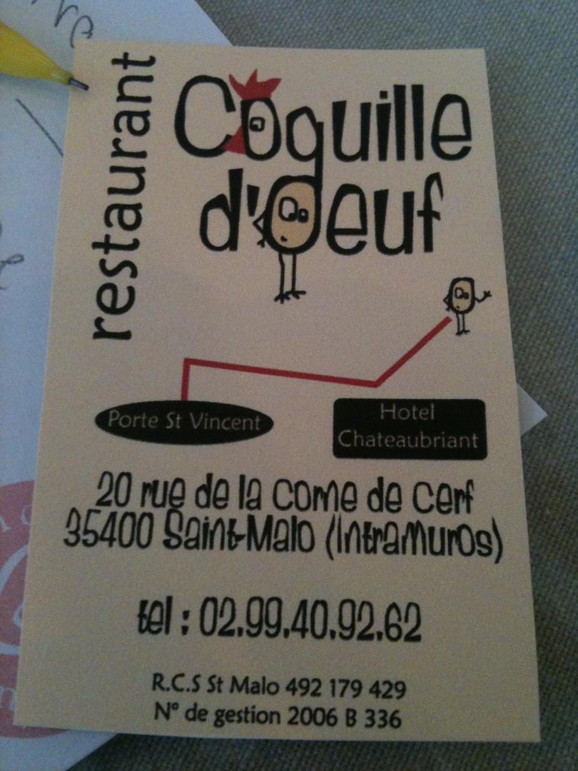 Foto vom 5. Februar 2016 18:53, Coquille d'Oeuf, 20 Rue de la Corne de Cerf, 35400 Saint-Malo, France