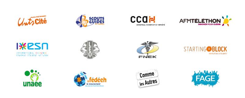 Logos Unis-cité, Scouts et Guides de France, CCAH, AFM Téléthon, International Exange Erasmus Student Network, Léo, FNEK, Starting Block, Unaee, La Fédéeh, Comme les autres, Fage