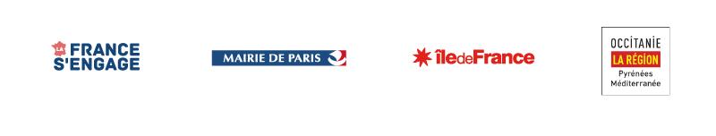 Logos La France s'engage, Mairie de Paris, Région Île-de-France, Région Occitanie Pyrénées Méditerranée