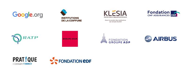 Logos Google.org, Klésia, Fondation CNP Assurances, RATP, Groupe Eram, Fondation Groupe ADP, Airbus, Pratique.fr, Fondation EDF