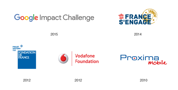 Google Impact Challenge (2015), La France s'engage (2014), Lauriers de la Fondation de France (2012), Vodafone Accessibility Awards (2012), Proxima Mobile (2010)